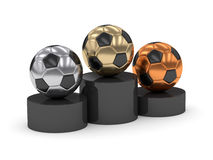 3d rendered podium with soccer balls isolated on white Stock Image