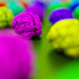 3D rendered,  Purple brains 3d model render, low poly illustrati Stock Image