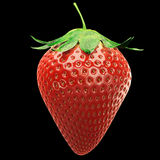 3D RENDERED REALISTIC GLOSSY STRAWBERRY ISOLATED ON BLACK Stock Photos
