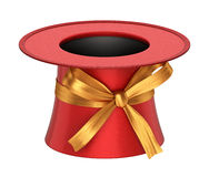 3D rendered red decoration top hat with golden ribbon Royalty Free Stock Photography