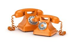 3d rendered retro telephones Stock Photos