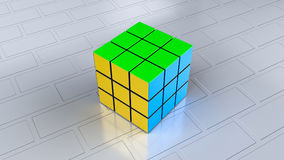 3d rendered Rubiks cube stock illustration