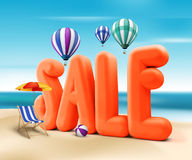 3D Rendered Sale Word Title for Summer Promotion. In Beach Sea Shore with Flying Balloons, Ball, and Beach Chair and Umbrella in the Sky Background Illustration Royalty Free Stock Photo