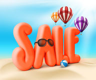 3D Rendered Sale Word Title for Summer Promotion. In Beach Sea Shore with Flying Balloons, Ball, and Shades with Sun Rays in the Sky Illustration Royalty Free Stock Photos