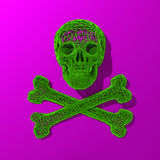 3d rendered skull low poly illustration. Low poly green skull illustration on purple background Stock Photos