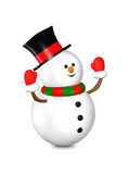 3d rendered snowman looks up isolated over white Royalty Free Stock Photos