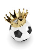 3d rendered soccer ball with a golden crown  over white Stock Images
