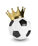 3d rendered soccer ball with a golden crown  over white Royalty Free Stock Photo