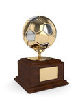 3d rendered soccer ball trophy  on white Stock Photos