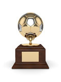 3d rendered soccer ball trophy  on white Stock Images
