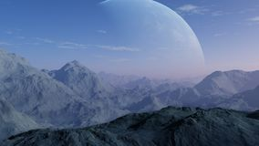 3d rendered Space Art: Alien Planet. A Fantasy Landscape Royalty Free Stock Photos