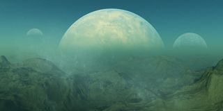 3d rendered Space Art: Alien Planet. A Fantasy Landscape Royalty Free Stock Photography
