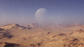 3d rendered Space Art: Alien Planet - A Fantasy Desert Landscape with blue skies and stars.  royalty free illustration