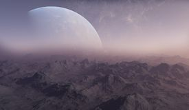 3d rendered Space Art: Alien Planet. A Fantasy Landscape Royalty Free Stock Image