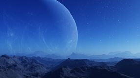 3d rendered Space Art: Alien Planet - A Fantasy Landscape with blue skies and stars.  stock illustration