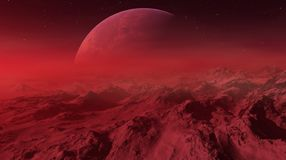 3d rendered Space Art: Alien Planet - A Fantasy Landscape with red skies and stars.  vector illustration