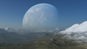 3d rendered Space Art: Alien Planet. A Fantasy snowy landscape Stock Photography