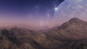 3d rendered Space Art: Alien Planet. A Foggy Fantasy Landscape Stock Image