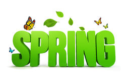 3D Rendered Spring Word  in White Background Royalty Free Stock Photos