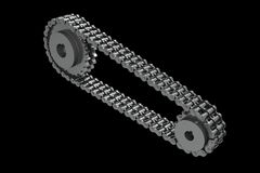3D rendered Sprockets conected with a closed chain. On black background Stock Image