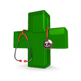 3d rendered stethoscope with first aid cross Royalty Free Stock Images
