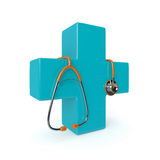 3d rendered stethoscope with first aid cross Stock Photography