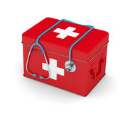 3d rendered stethoscope with first aid kit isolated over white. Background Stock Photo