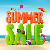 3D Rendered Summer Sale Text Title for Promotion. In Beach Sea Shore with Flying Kites, Colorful Umbrella, Sunglasses, Ball and Starfish Illustration Stock Image