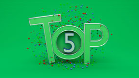 3d rendered top 5. In Green color royalty free illustration