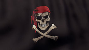 3D rendered waving Jolly Roger pirate flag in Stock Photography