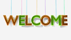 3d rendered welcome text. 3d rendered hanging welcome text in a white background vector illustration