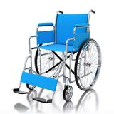 3d blue wheelchair  on white background. 3d rendered wheelchair  on white background Royalty Free Stock Photo