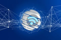 3D rendered wifi symbol displayed in a sliced sphere. View of a 3D rendered wifi symbol displayed in a sliced sphere Stock Photos