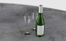 3d rendered wine bottle with glasses. Blank 3d wine bottle with empty glasses suitable for own branding and presentation with realistic lighting and reflection Stock Images