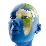 3d woman with map on her face. Stock Images