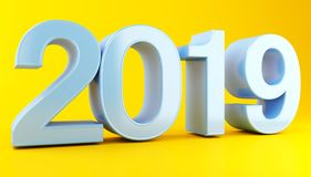 3d 2019. 3d renderer image. New Year 2019 isolated on white background Stock Image