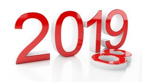 3d 2019. 3d renderer image. New Year 2019 isolated on white background Royalty Free Stock Photos