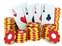 3d renderer image. Red casino tokens and Playing Cards. Royalty Free Stock Photos