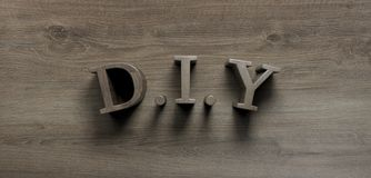 DIY word wrote on wooden background royalty free stock photography