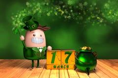 3d rendering śliczny leprechaun trzyma shamrock z blokiem ilustracji