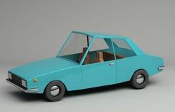 3d rendering śmieszny retro projektujący błękitny samochód Obrazy Royalty Free