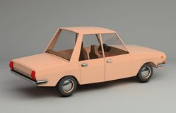 3d rendering śmieszny retro projektujący samochód Fotografia Royalty Free