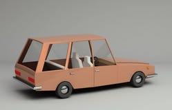 3d rendering śmieszny retro projektujący samochód Obrazy Royalty Free