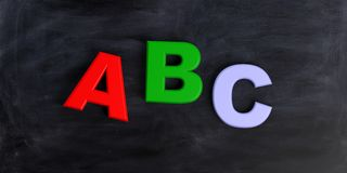 3d rendering abc letters on black background. 3d rendering abc colored letters on black background Royalty Free Stock Image
