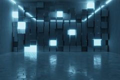 3d rendering of abstract background with blue light and stacked. Glass cubes Stock Illustration
