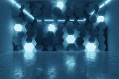 3d rendering of abstract background with blue light and stacked. Glass hexagon shapes royalty free illustration