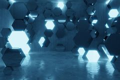 3d rendering of abstract background with blue light and stacked. Glass hexagon shapes stock illustration