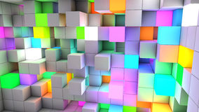 3D rendering abstract background color light cubes.  royalty free illustration