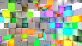 3D rendering abstract background color light cubes.  vector illustration