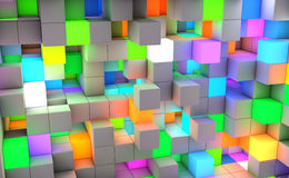 3D rendering abstract background color light cubes.  stock illustration